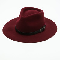 Burgundy Belt Buckle Floppy Hat