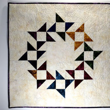 Quilted Wall Hanging  Fiber Art  Table Runner Topper Quilted Friendship Star