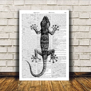 Black and white art Lizard poster Dictionary print Modern decor RTA261