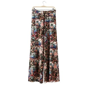 Retro Style High Waist Floral Print Women's Flare Leg Pants