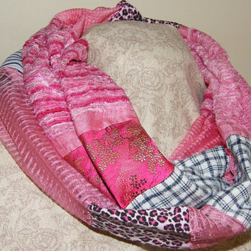Upcycled Recycled Infinity Scarf Pink Spring / Autumn Scarf OOAK