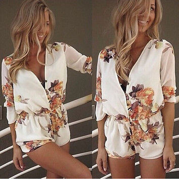 Fashion Ladies Clubwear V Neck Playsuit Bodycon Party Jumpsuit&Romper Trousers