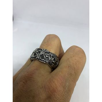 Vintage 1970's Celtic cross stanless sreel band Ring
