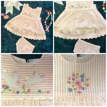 2018 Spring Cotton Kids Easter Bunny Infant Dress & Bloomers