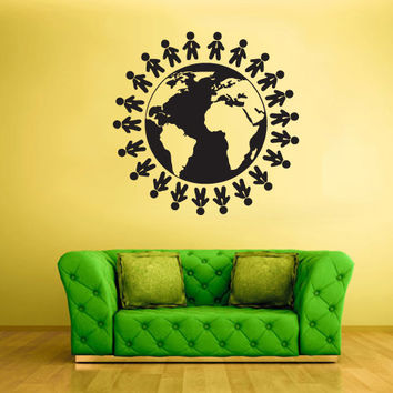 Wall Vinyl Sticker Decals Decor Art Bedroom Design Mural World Map Globe Earth Peoples Country  (z1871)