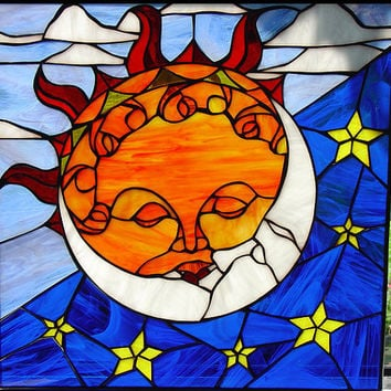 Mystical Kissing Sun & Moon Leaded Stained Glass Window Panel (We do custom work! Please email me for a quick quote) Artglass Leaded  Art