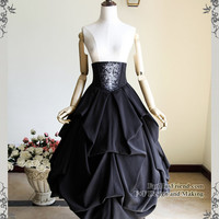 Exclusive Designer Neo-Ludwig Silence Lonely, Gothic Ice Bones Heavy Pleat Corset High Waist Long Dress Prom Skirt