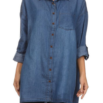 Over Sized Dark Denim Shirt w/ Adjustable Sleeves