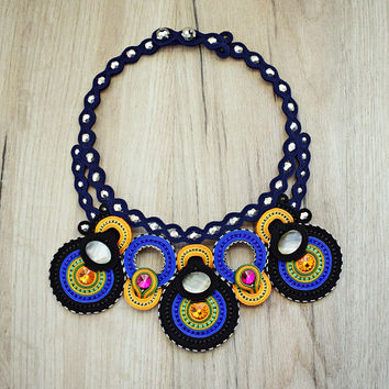 Colorful statement soutache necklace