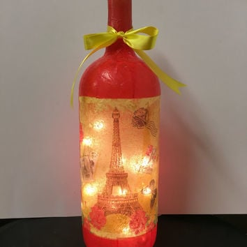 Paris wine bottle lamp style #3, Paris themed accent lamp, nightlight