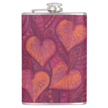 Hearty Flowers, floral hearts, pink, red & orange Flask