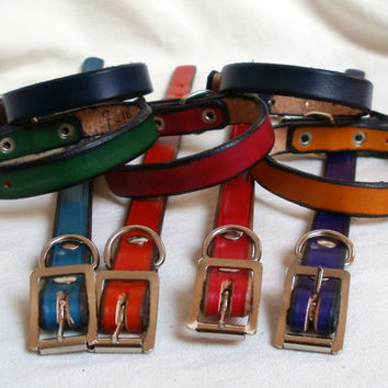 "Leather dog collar, 1/2"" wide, small dog collar, blue dog collar, green dog collar, red dog collar, colorful collar, handmade"