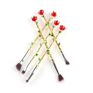 5Pcs Beauty and the beast roses Cosmetic Brushes For Makeup Face Powder Makeup Brushes Set Makeup Brush Make Up Tools
