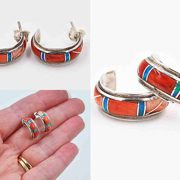 Vintage Navajo Sterling Silver Inlaid Hoop Pierced Earrings, Signed DD, Channel Inlay, Opal, Spiny Oyster, Awesome Colors! #c391