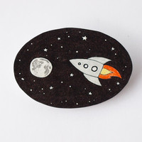 Rocket to the Moon brooch - Made to Order
