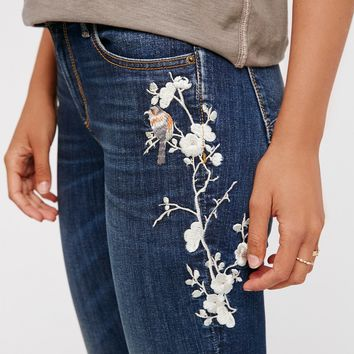 Free People Jackie Embroidered Skinny Jeans