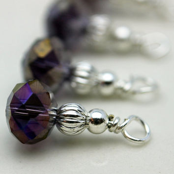 Grape Purple AB Crystal Rondelle and Silver Bead Dangle Charm Drop Set