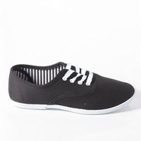 Canvas Tie Sneakers - Black at Lucky 21 Lucky 21