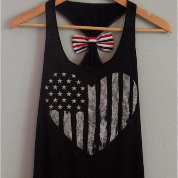 Day-First™ Bow Tie American Flag Print Tank Top