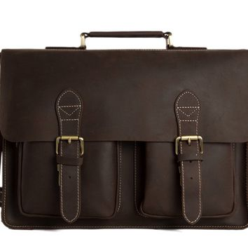 London Vintage Leather Briefcase in Dark Brown