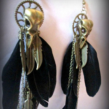Raven skull earring-black feather earring-birdskull earring-dangle earring-feather earring-gothic earring-punk earring-steampunk earring