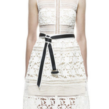 White Lapel Sleeveless Cut-Out Lace Dress