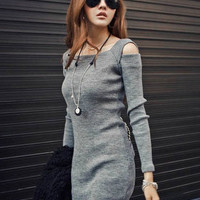 Long Sleeve Cut-Out Knitted Mini Bodycon Dress