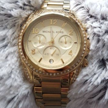 DCCK7BE Michael Kors Women's MK5263 Blair Analogue Bracelet Chronograph Watch Gold