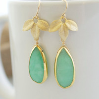 Bezel Chrysoprase Earrings Chrysoprase Earrings by Jewels2Luv