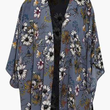 Floral Shawl- Blue Floral Print