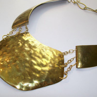 Statement Necklace, Large Hammered Brass Choker Style Necklace with S Clasp Closure OOAK