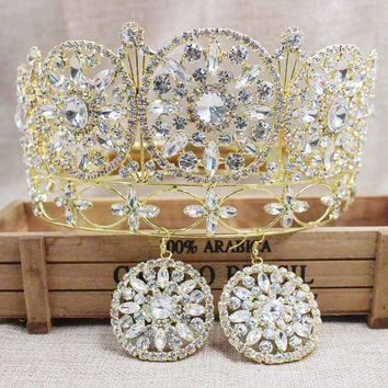 3.5inch Gold Full Circle Queen Crown Tiara Masquerade Cosplay Hair Jewelry with Matching Earrings