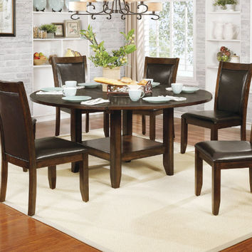 "Furniture of america CM3152RT-7PC 7 pc meagan II rustic plank brown cherry finish wood 65"" round drop leaf dining table set"