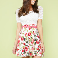 Lace Floral Dress W/Belt