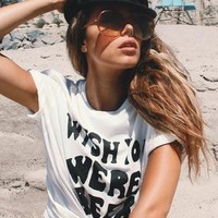 Life Clothing Co. Women's Vintage Wish You Were Beer Graphic Tee