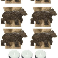 Park Design 21-844 Sgraffito Bear Napkin Rings Set of 6 with 6-Pack of Tea Candles