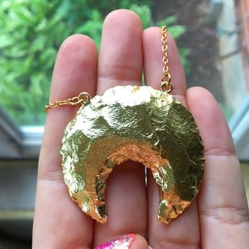 Gold Quartz Crescent Moon Necklace