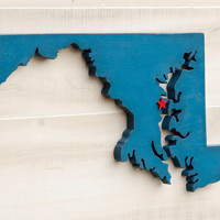Maryland state shape sign wood cutout wall art with heart or star 35 Colors. Wedding Guestbook Anniversary Gift Country Cottage Chic Decor