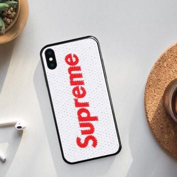Supreme & LV & Victoria's Secret & Fendi & Chanel Tide Brand Creative iPhonex Diamond Phone Case F0220-1 Supreme/white