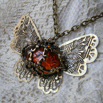 Stella & Dot Inspired  VINTAGE Victorian Style Filigree Winged Amber Butterfly Pendant Necklace