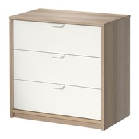 ASKVOLL Chest of 3 drawers White stained oak effect/white 70x68 cm - IKEA