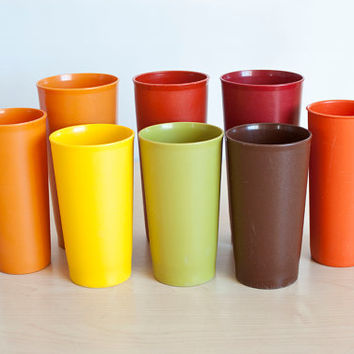 Vintage Harvest Color Tupperware Tumblers, Mixed Tupper Ware Cup Set 1970s Colors Brown, Avocado, Yellow, Orange, Red