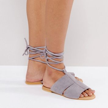 ASOS FUTURE Suede Tie Leg Flat Sandals at asos.com
