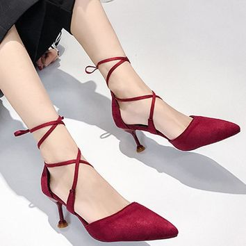 Semi-High Heel Lace Up Pointed Toe Stilettos
