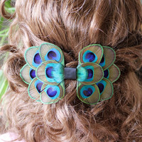 Peacock Feather Barrette, Bow Hair Clip, French Hair Barrette, Peaock Wedding Fascinator