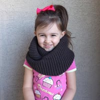 Knitted Kids Infinity Scarf, Fall Winter Knitted Boys Infinity Scarf, Unisex Children's Scarf