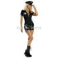 ONETOW Women Black Sexy Police Costume Cosplay Halloween Costumes for women Fantasia Cosplay Fancy Dress