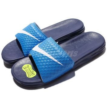 Nike Benassi Solarsoft Blue White Men Sandal Slide Slippers 705474-402