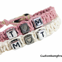 Initials Heart Couple Bracelets Light Pink & White Set of 2 Hemp Bracelets MADE TO ORDER-1 Week production time