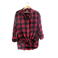 black and red checkered shirt / button up shirt // lumberjack shirt / men's flannel shirt size 2XL